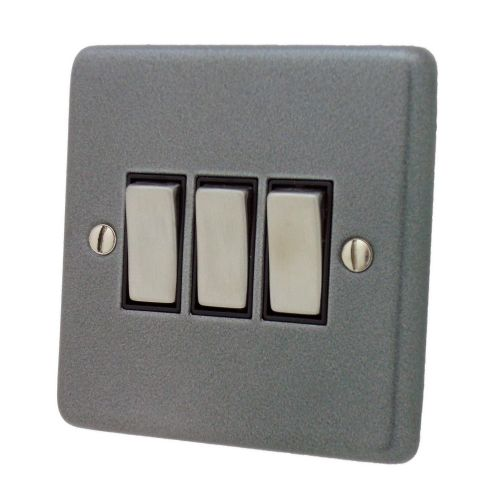 G&H CP303 Standard Plate Pewter 3 Gang 1 or 2 Way Rocker Light Switch